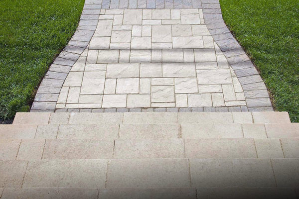 red paver steps